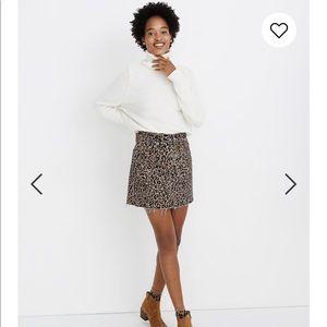 NEW Madewell Rigid Denim A-Line Mini Skirt Leopard